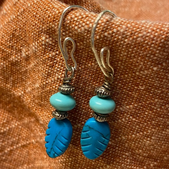 Jewelry - Sterling Silver Turquoise Carved Feather Earrings